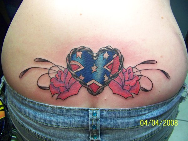30+ Cool Rebel Flag Tattoos - Hative Cross With Wings And Heart Tattoo