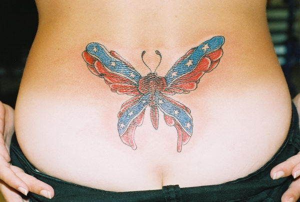 9 rebel flag butterfly on stomach