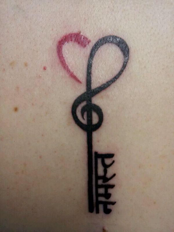 26 treble clef heart key tattoo with namaste