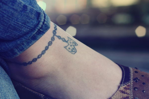 12 small ankle tattoo with chain