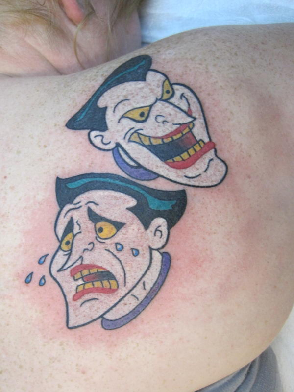 laugh now cry later jokers on shoulderJoker Smile Now Cry Later
