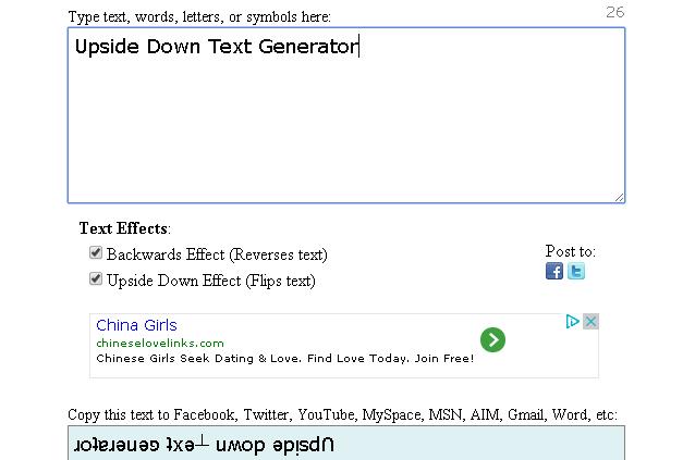 4 Upside Down Text Generator