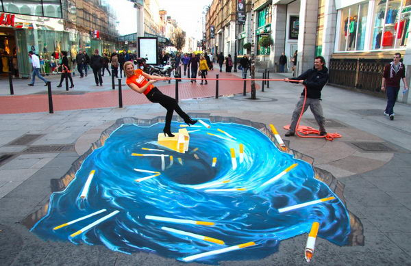 Stop Smoking 3D Street Art.