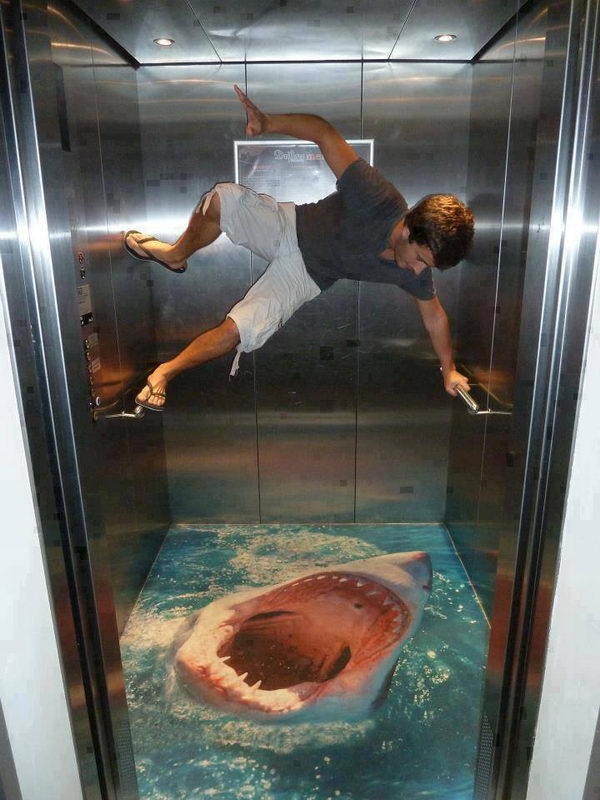 Shark in Elevator 3D Street Art.