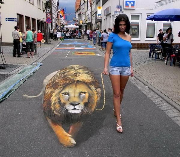 Walk with a Lion 3D Street Art.