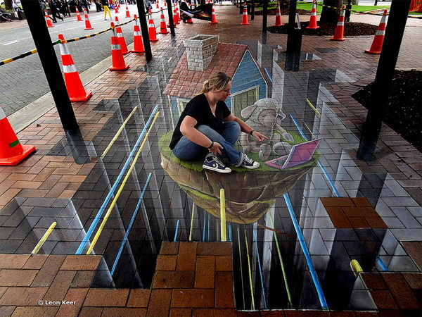 3d Street Art in Dunedin New Zealand.