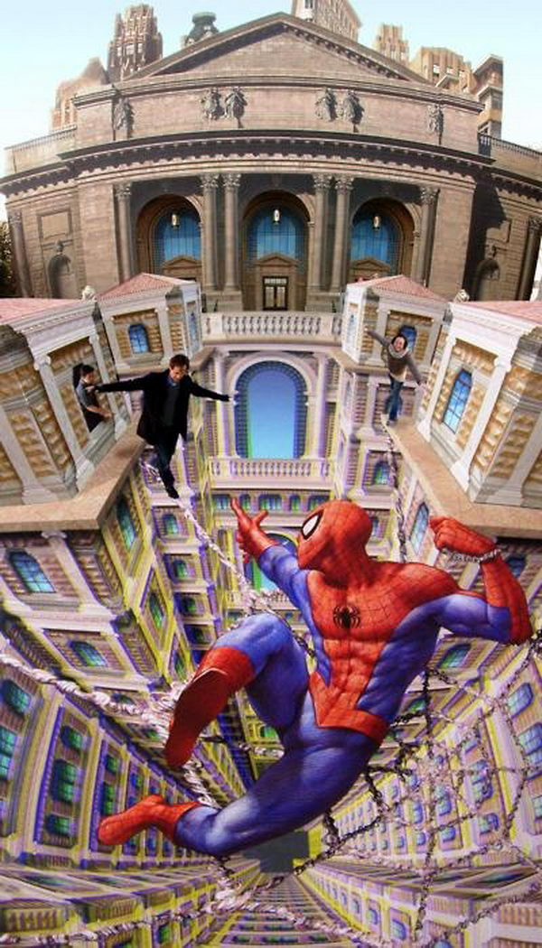Spider Man. 3D street art of Kurt Wenner, a former NASA employee, who uses his mathematical skill to create three dimensional illusions on pavements across the world.