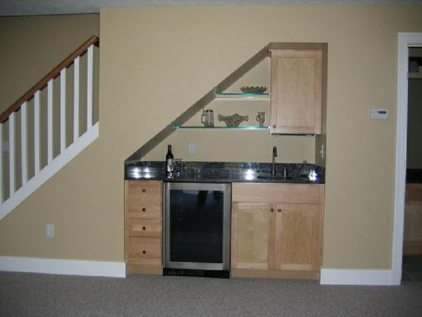 Small Under Stair Wet Bar For Basement