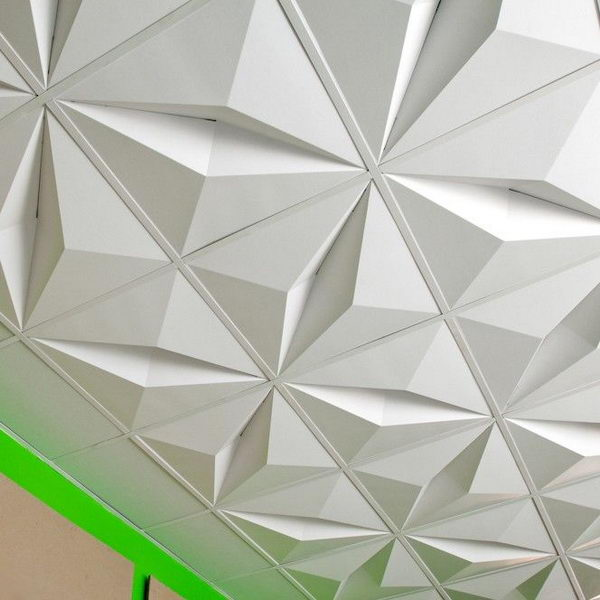 3D Drop Ceiling Tiles. Made From Recycled Cardboard And Designed To Ship  Flat And Be