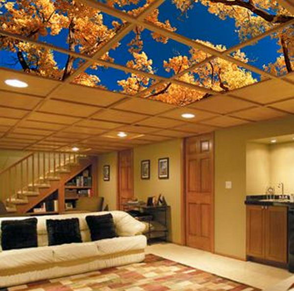 Ceiling art fits easily into your dropped ceiling or suspended ceiling grid and provides not only easy access to pipes and wires overhead but creates a larger than life appearance for the overall space.