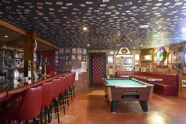 Photos on Basement Bar Ceiling,