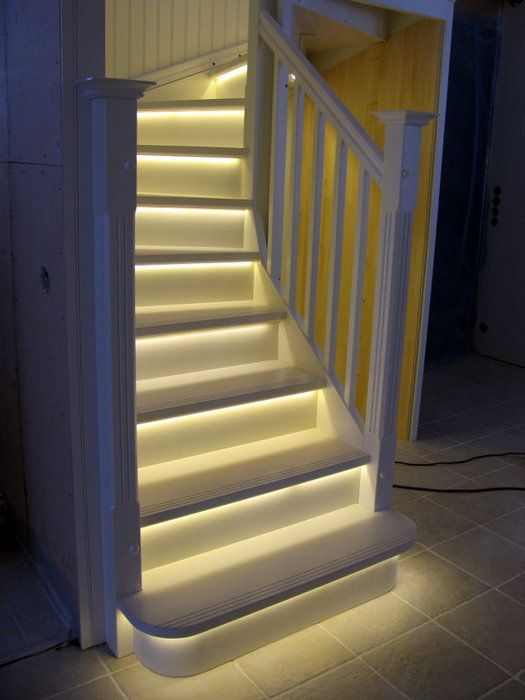Cool Lighting Ideas Part - 38: White Stairs With Led Lights