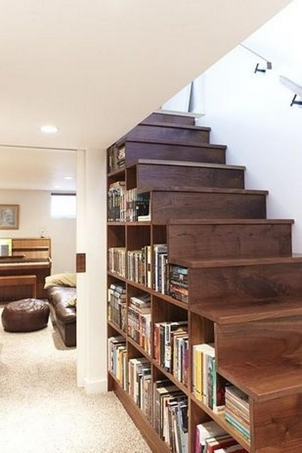 Book Collection Under Stairs.