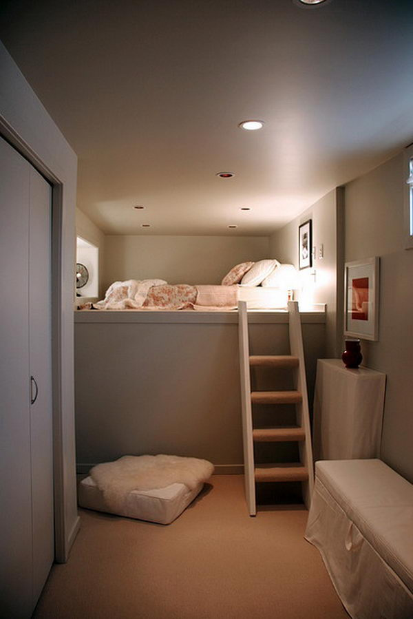 Basement Guest Room. This would be a great way to add guest room capabilities to a basement storage area or something like it.