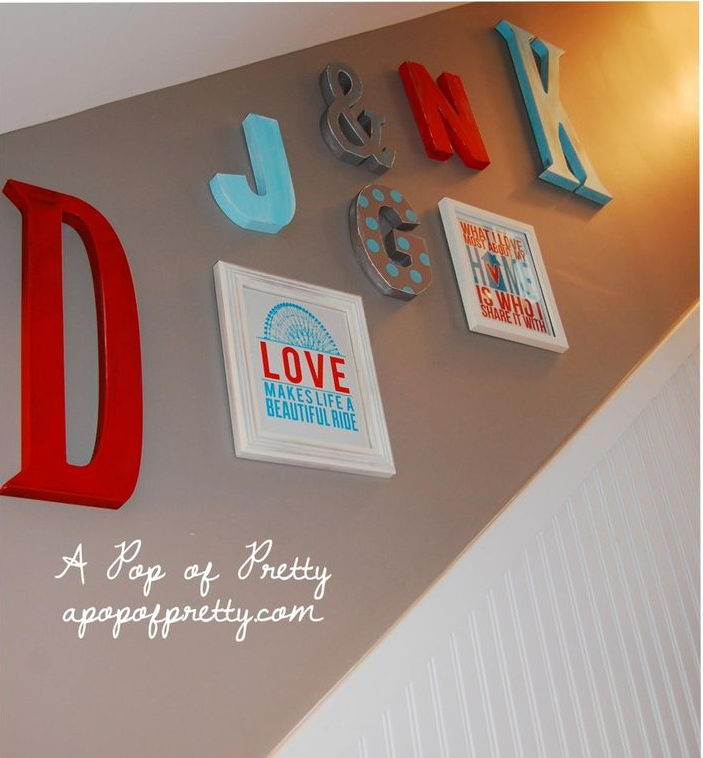 Big Monogram Letters on Wall. Big monogram letters were hand painted and placed on walls to represent the members of our family.
