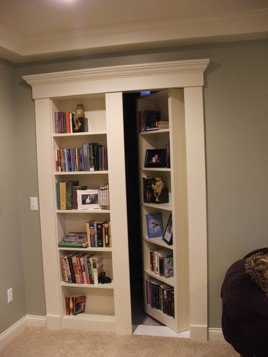 Secret Bookcase Door. Fun And Mysterious Idea For The Basement, With The  Book Shelf