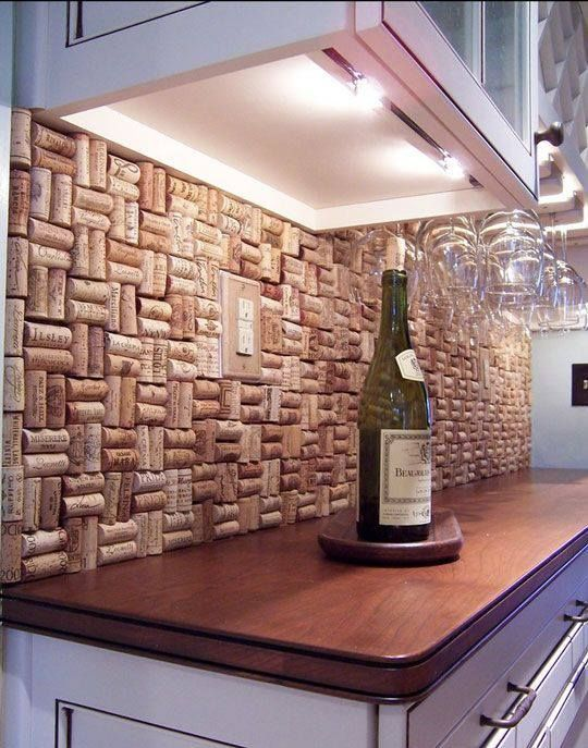 Wine Cork Backsplash  It gives you a reason for drinking more wine 20 Clever and Cool Basement Wall Ideas Hative