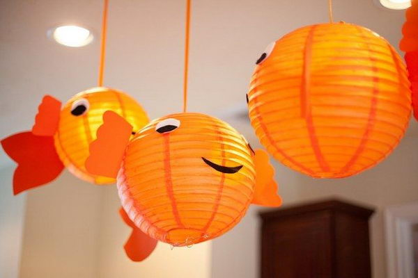 Goldfish Lanterns for Bubble Guppies Party,