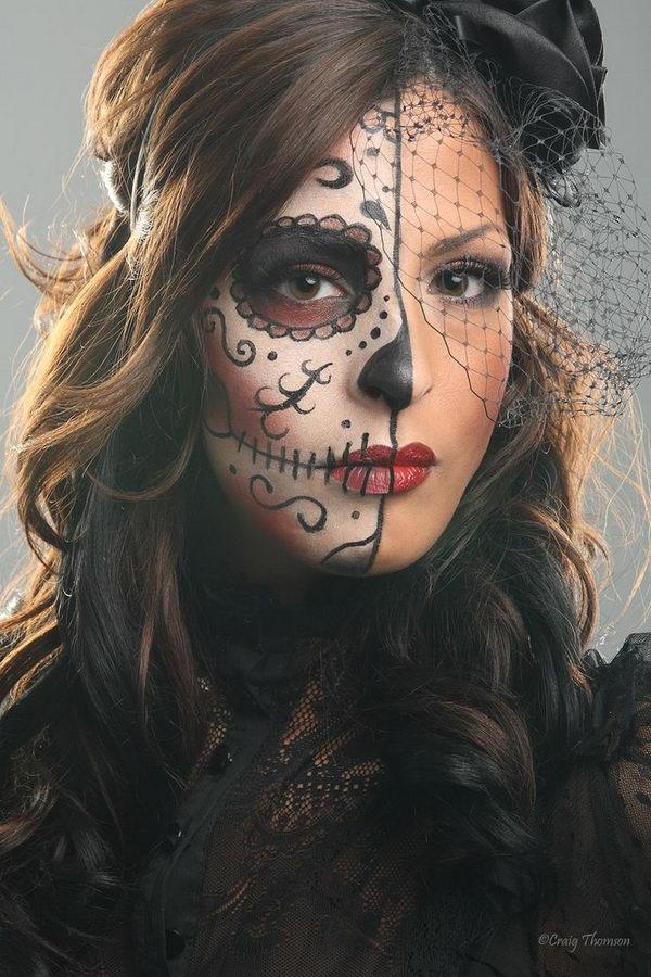 20 cool d a de los muertos sugar skull makeup art examples. Black Bedroom Furniture Sets. Home Design Ideas