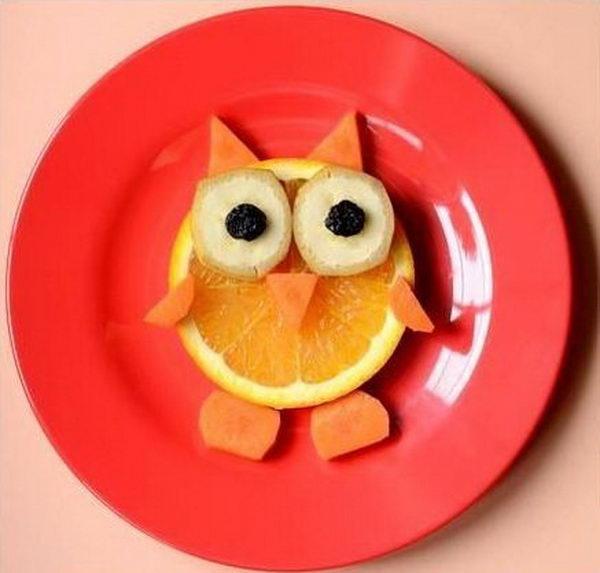 Food Arranged Like an Owl
