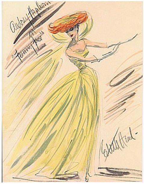 Edith Head Costume Sketch.