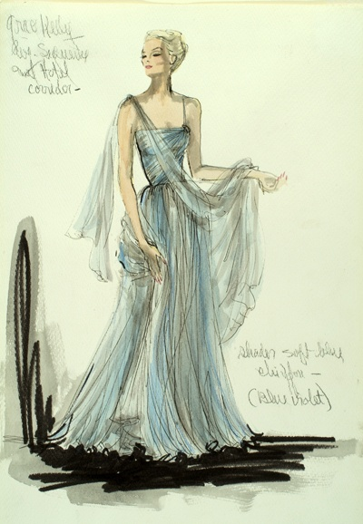 Edith Head Blue Gown Sketch.