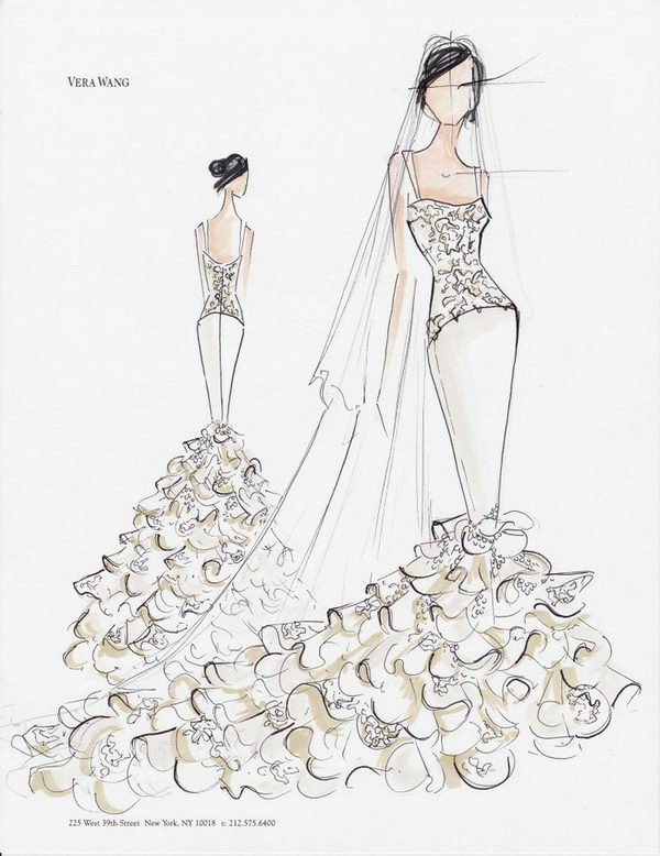 Vera Wang Sketch for Kim Kardashian's Wedding Gown.
