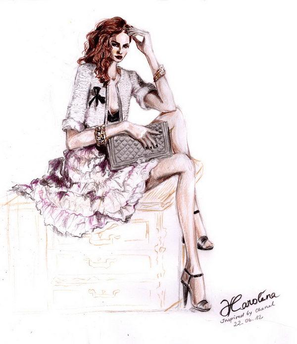 Chanel inspired Fashion Illustration.