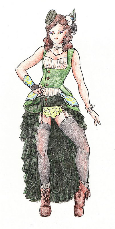 Steampunk Fashion Sketch. Steampunk, a DIY emphasized fashion and novel genre, combines Victorian styles with a bit of a punk flare.