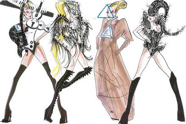 Lady Gaga Wearing Armani Sketches.