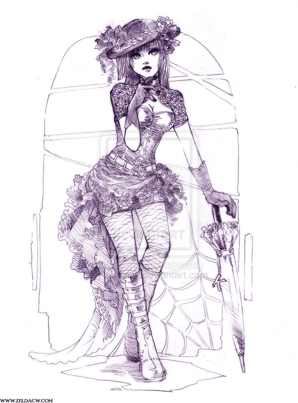 Gothic Fashion Sketch. Gothic fashion is a clothing style marked by conspicuously dark, mysterious, exotic, and complex features. It is worn by members of the goth subculture.