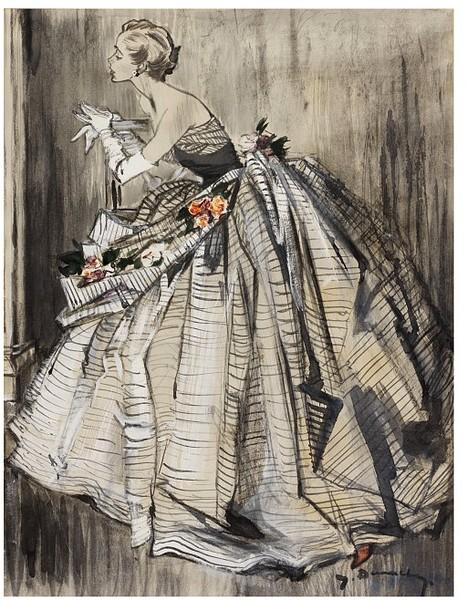 Lanvin Evening Gown Sketch.