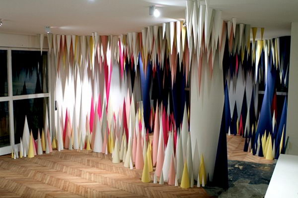 Paper Cave Installation Art. This paper cave is such a rad modern installation. Created by Wendy Plomp and Edhv collaborated to create this 3D Paper Cave installation at the Verger shop in Milan.