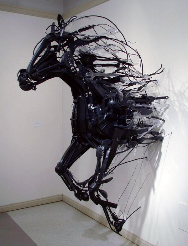 Installation Art from Discarded Plastic. Sayaka Kajita Ganz created these wild horse sculptures from trash picked objects like plastic utensils, toys, and metals.
