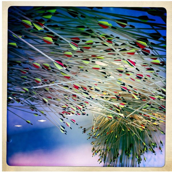 Arrow Art Installation. This installation involved 2,012 arrows suspended from the ceiling for the new corporate office reception area for Western Union in San Francisco.