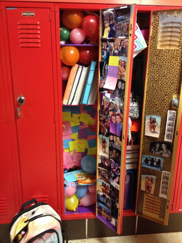 balloons and post its in locker decorate your best friends locker with balloons and post - Locker Decoration Ideas