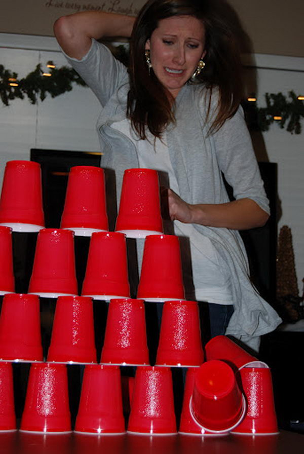 Stack Cups with One Hand as a 15 Minute to Win It Party Game.