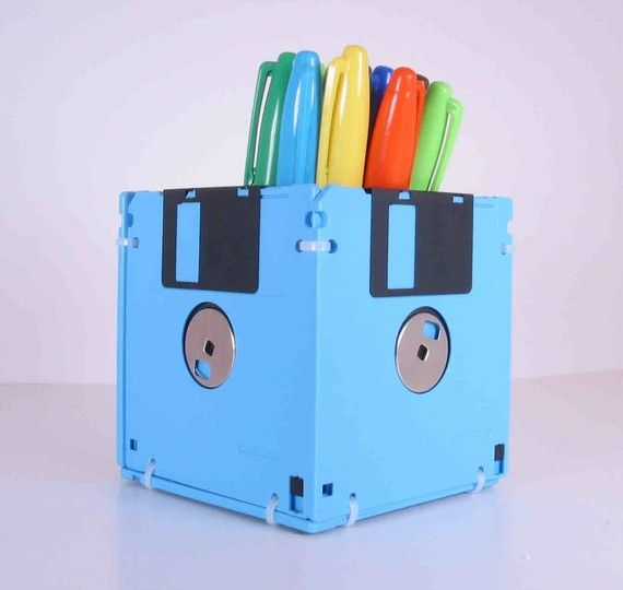 Floppy Disk Pen and Pencil Holder. This item is manufactured out of sky blue recycled & 20 Fun and Creative Office Gift Ideas - Hative