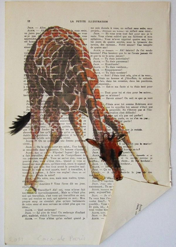 examples cool giraffe clever books hative coco paris pages painting artwork paper crafts into nicety drawing reading paintings livejournal altered