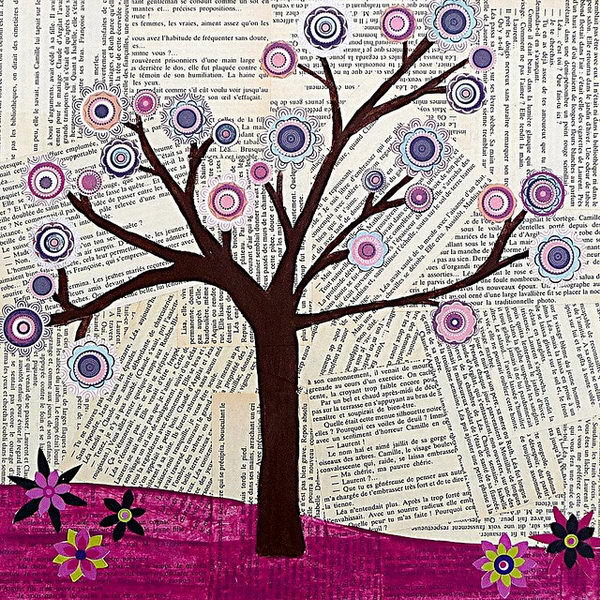 tree collage art original mixed media abstract tree collage art painting by sascalia could - Book Pages Art