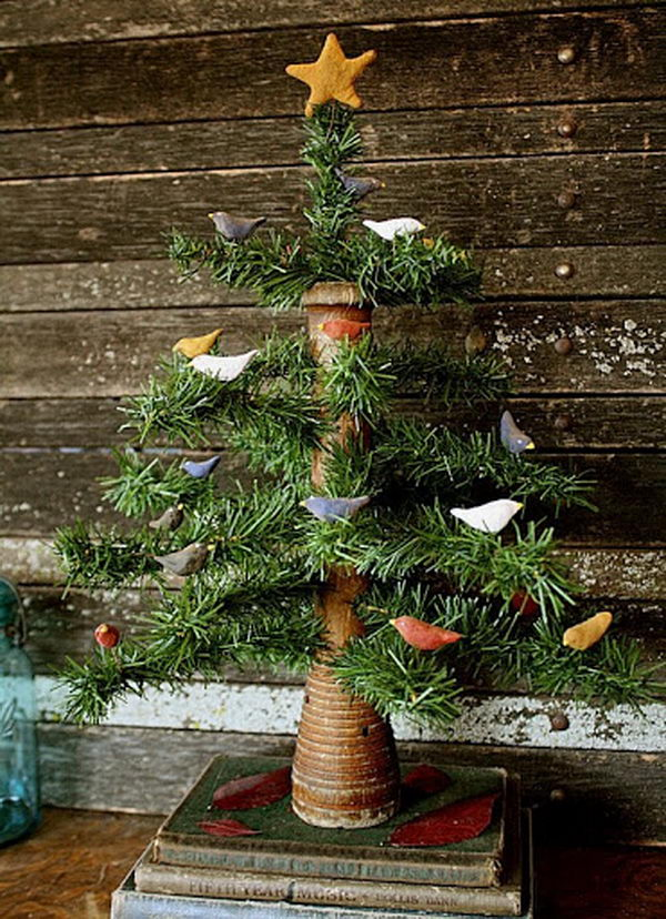 Primitive Wooden Beehive Bobbin Bird Tree,