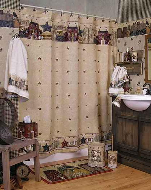 Country Style Curtains And Drapes Vintage Shower Curtains