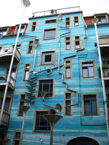 Rube Goldberg Rain Drainage System, Check out this crazy cool drainage system on an apartment building in Dresden, Germany.