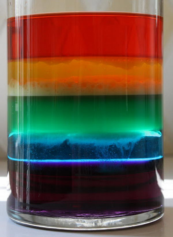 Rainbow in a Jar Science Project for Kids. This is a great little science lesson on the density of different liquids and on how some liquids don't mix (water and oil layers).