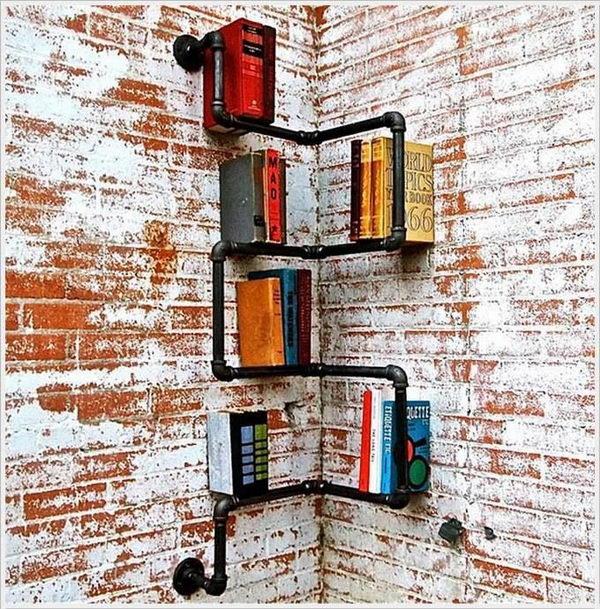 Industrial Corner Pipe Shelf,