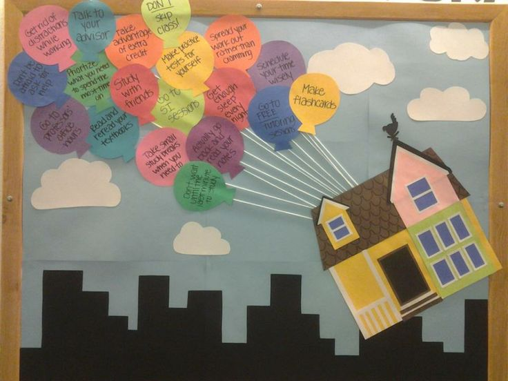 up themed bulletin board you could write down study tips or anything else on the bulletin boards