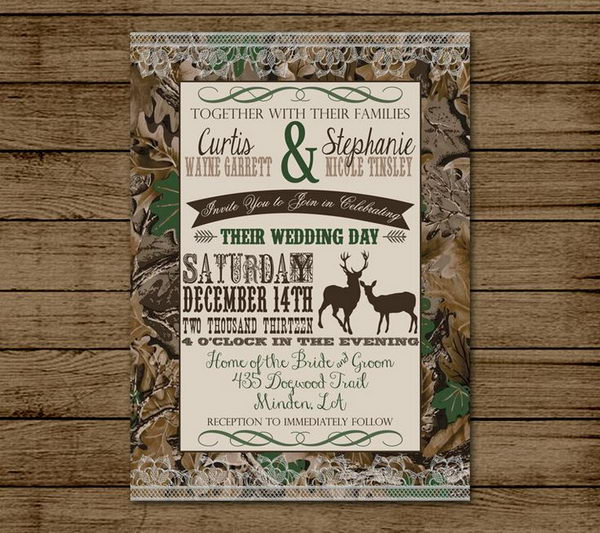 Camouflage Wedding Invitation.