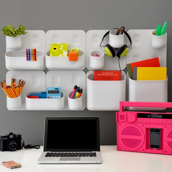 its a good idea to have wall mounted modular storage containers for storage of personal items source shark week cubicle decoration - Cubicle Design Ideas