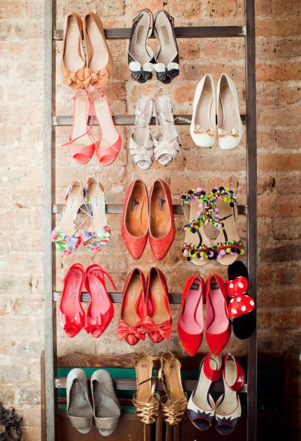 The ladder was used to organize and display high heeled shoes.