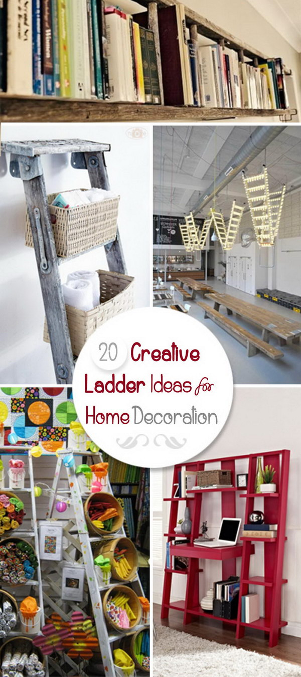 20 Creative Ladder Ideas for Home Decoration - Hative